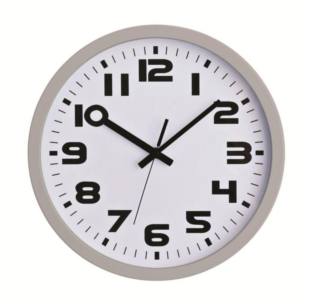 Horloge murale argentée, 12po
