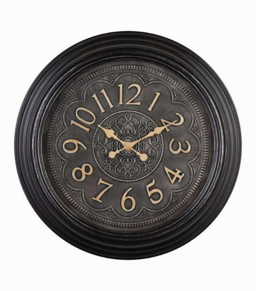 Dante-23 inch Black Wall Clock with Raised Dial