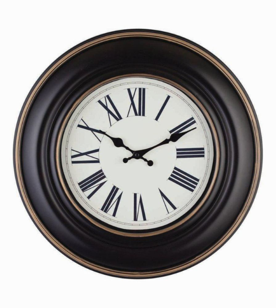 Gilda-18 inch Black Wall Clock with Roman Dial