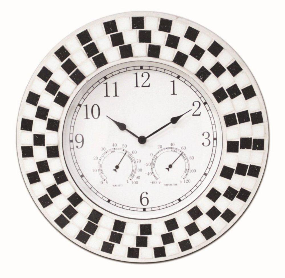 Caban  16 Black/White Mosaic Indoor Outdoor Clock
