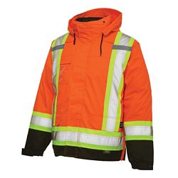 Work King Hi-Vis 5-In-1 System Jacket With Safety Stripes Fluorescent Orange Large