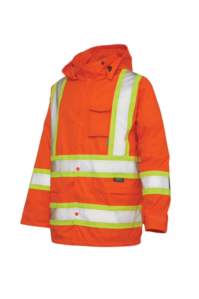 Hi-Vis Rain Jacket With Safety Stripes Fluorescent Orange Small