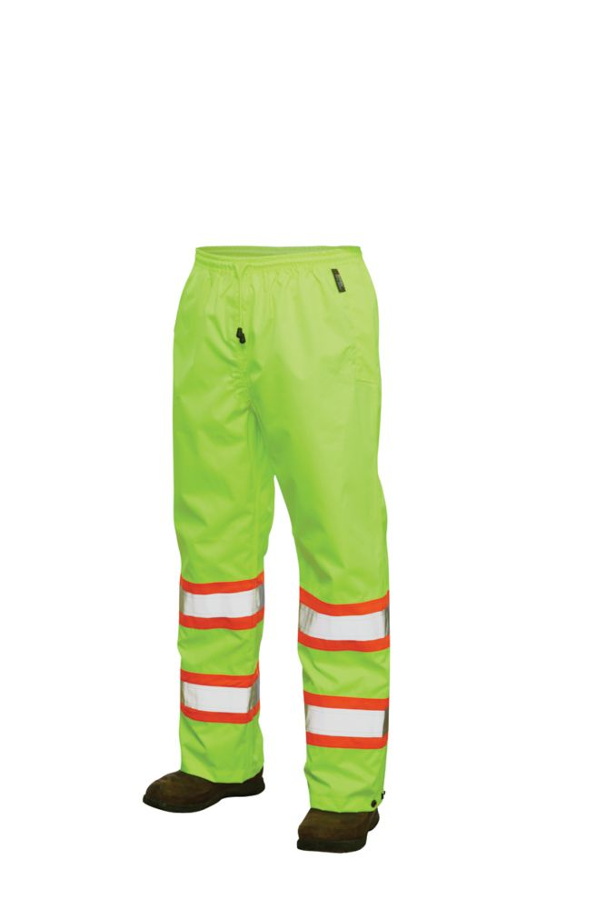 Hi-Vis Rain Pant With Safety Stripes Yellow/Green Large