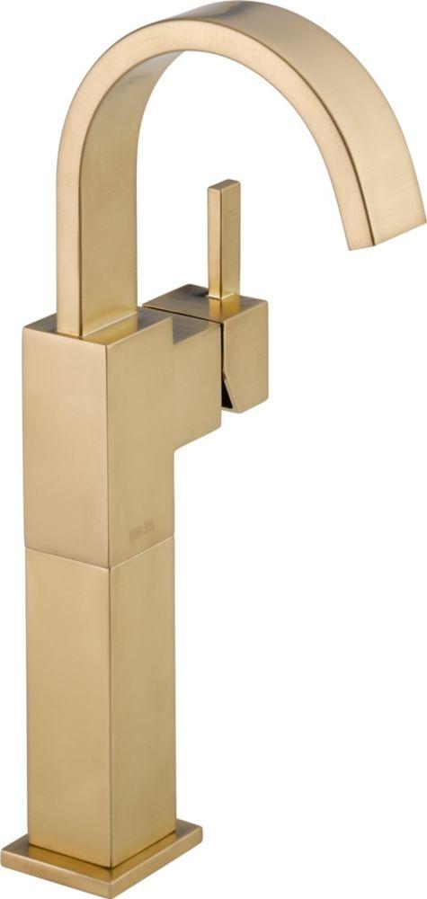 Vero - Mitigeur monotrou à arche élevée de lavabo vasque pour la salle de bains, Champagne Bronze