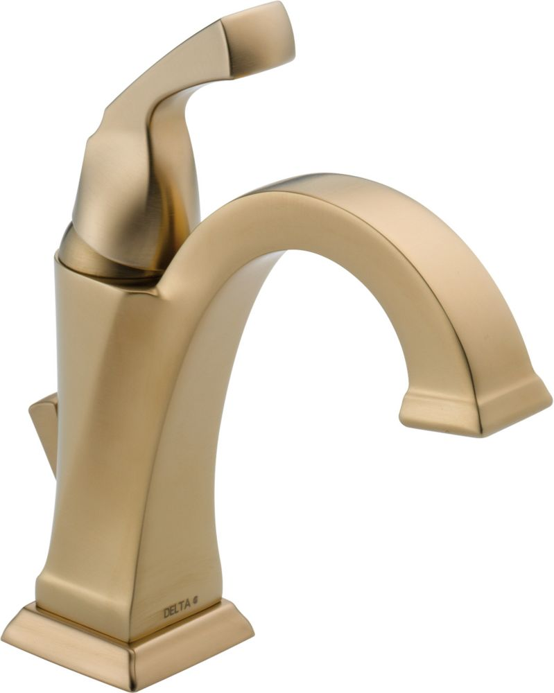 Dryden Single Hole Single-Handle High-Arc Bathroom Faucet in Champagne Bronze Finish