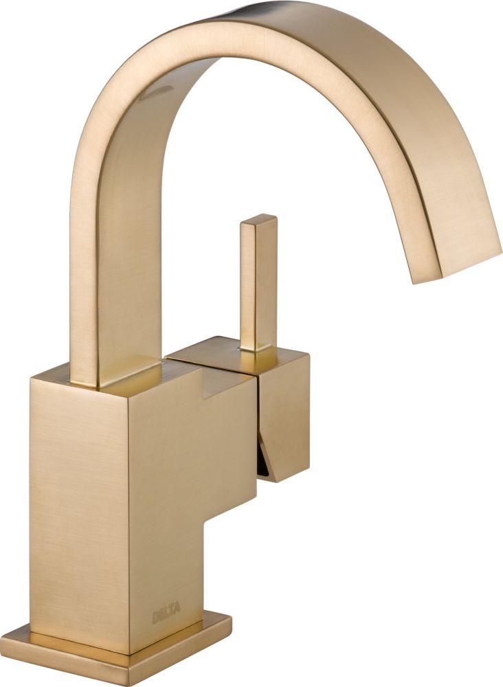 Vero - Mitigeur monotrou à arche élevée pour la salle de bains, Champagne Bronze