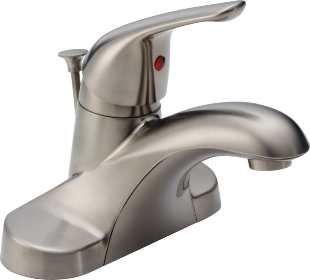 Foundations 4-inch Single-Handle Low-Arc Bathroom Faucet in Stainless Finish