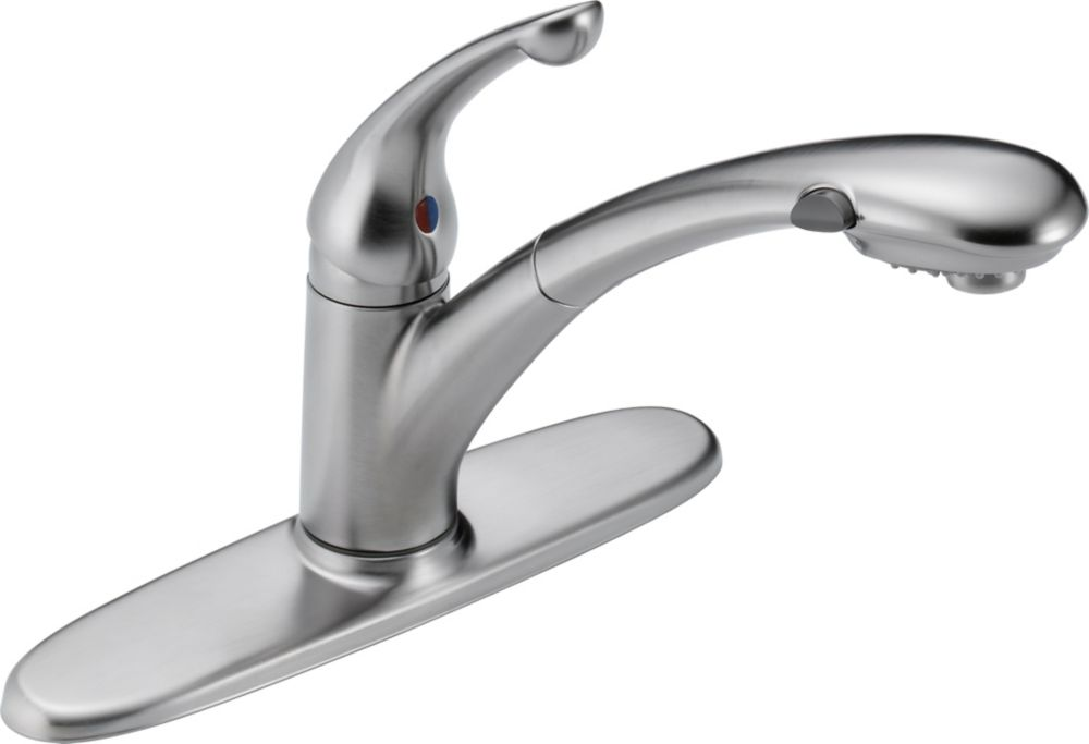 Delta Signature Single-Handle Pull-Out Sprayer Kitchen Faucet in Arctic Stainless