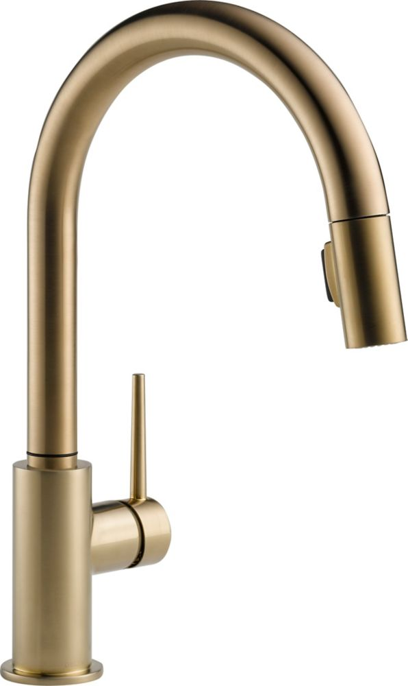 Trinsic Single-Handle Pull-Down Sprayer Kitchen Faucet in Champagne Bronze