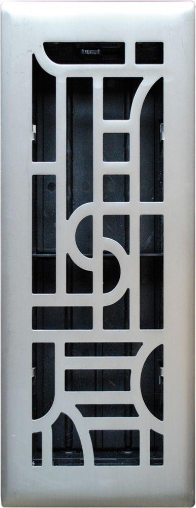 3po x 10po Registre de plancher à motif art deco nickel satiné