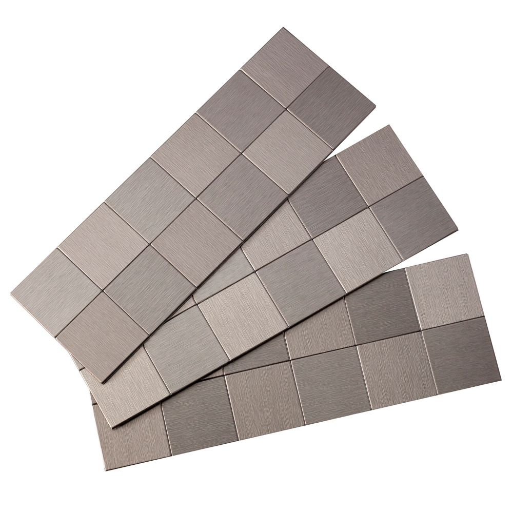 2 Inch x 2 Inch Square Matted Peel and Stick Tiles, Brushed Stainless,3 sections/pack