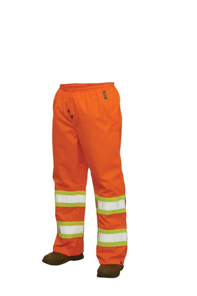 Hi-Vis Rain Pant With Safety Stripes Fluorescent Orange 2X Large