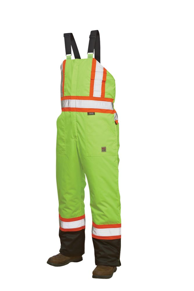 Hi-Vis Lined Bib Overall With Safety Stripes Yellow/Green Small