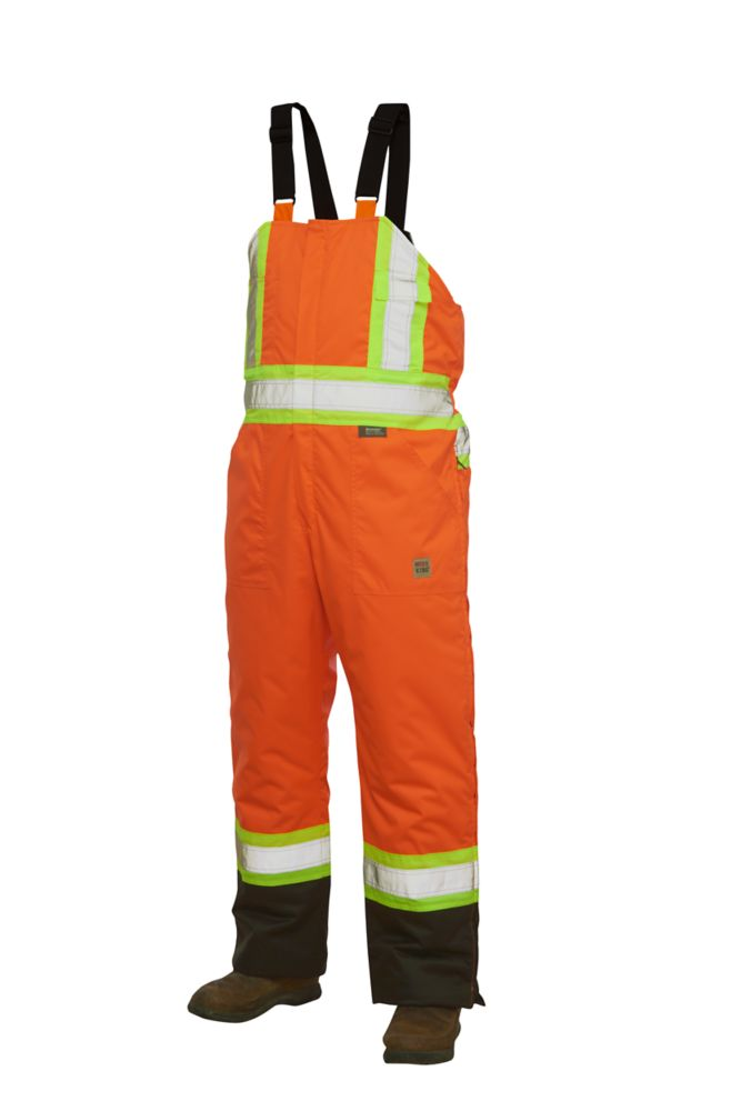 Hi-Vis Lined Bib Overall With Safety Stripes Fluorescent Orange Medium