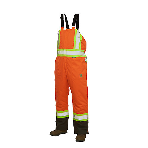 Hi-Vis Lined Bib Overall With Safety Stripes Fluorescent Orange Large
