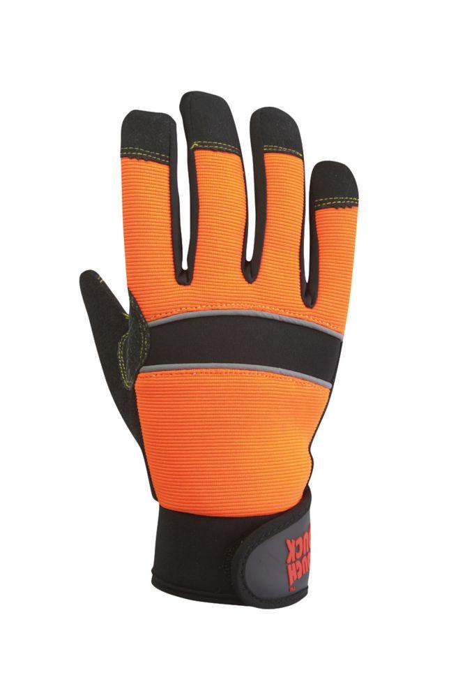 Hi-Vis Glove With Grip Palm Orange/Black X Large