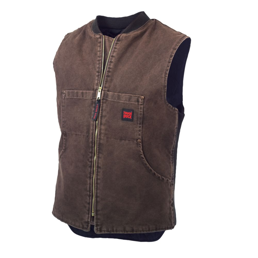 Washed Quilted Lined Vest Chestnut Large