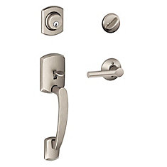 Greenwich Single Cylinder Handleset and Broadway Lever Satin Nickel