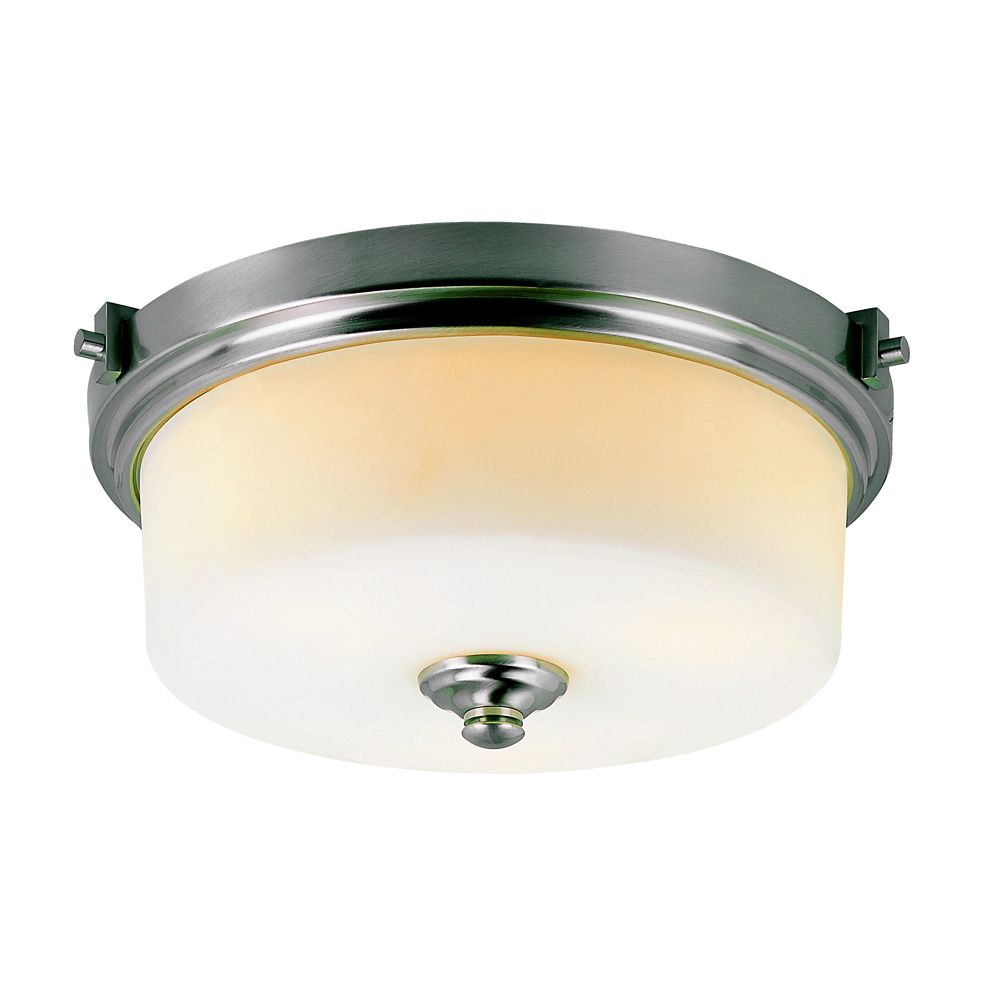 Bel Air Lighting Nickel with Frosted Cylinder 17 inch Flushmount