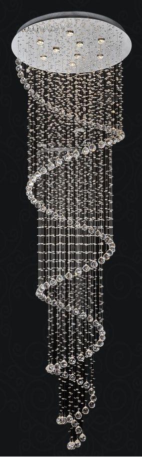 Lustre en spirale, 24 po D x 110 po H