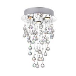 CWI Lighting 12-inch x 18-inch Crystal Rain Drop Chandelier in Polished Chrome