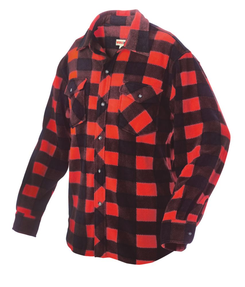 Plaid Solar Fleece Shirt Red Large