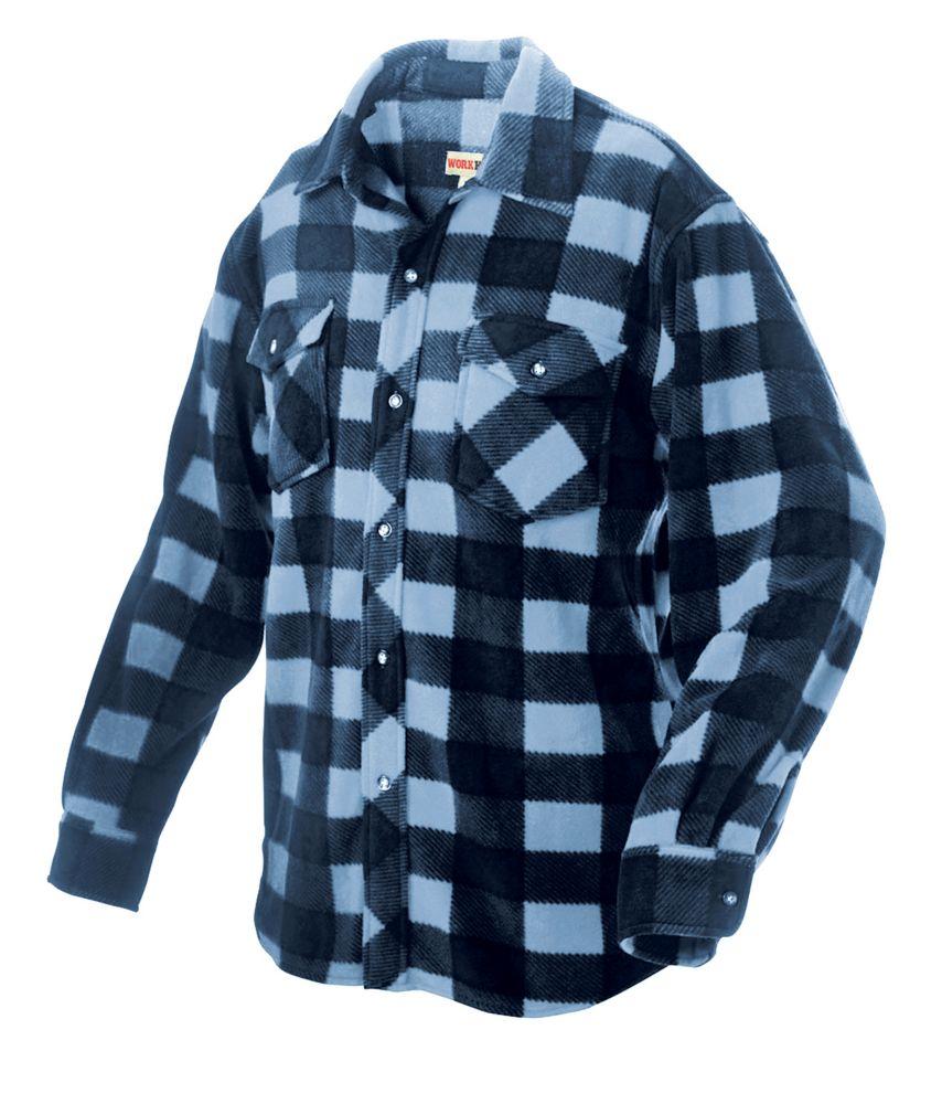 Chemise à carreaux en molleton� bleu tg