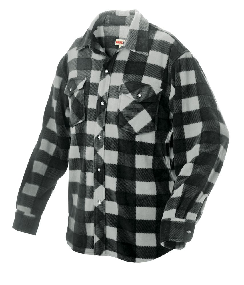Plaid Solar Fleece Shirt Grey 2X Large
