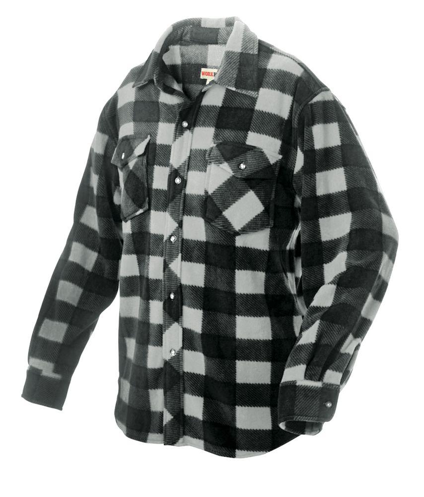 Work King Plaid Solar Fleece Shirt Grey 3X Large