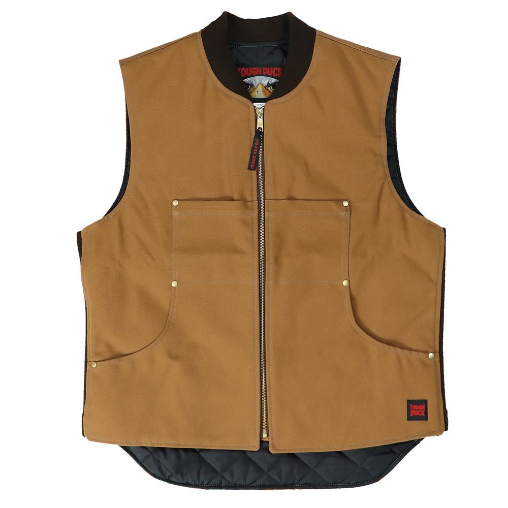 Quilted Lined Vest Brown Large
