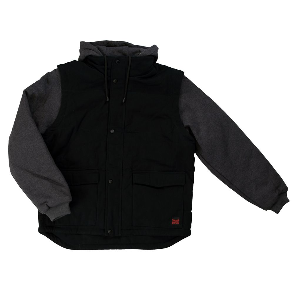 Tough Duck Duck Jacket W/Detach Sleeves/Hood Black Large