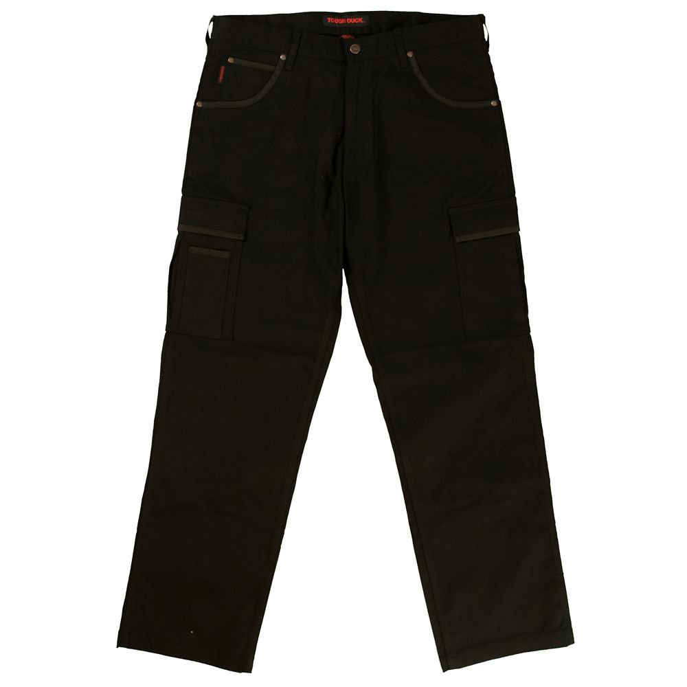 Stretch Twill Cargo Work Pant Black 30W X 32L