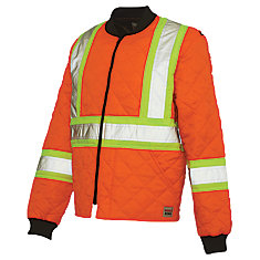 Quilted Safety Jacket With Stripes Fluorescent Orange Medium