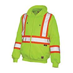 Blouson haute visibilité à capuchon en molleton avec bandes réfléchissantes— jaune/vert tg