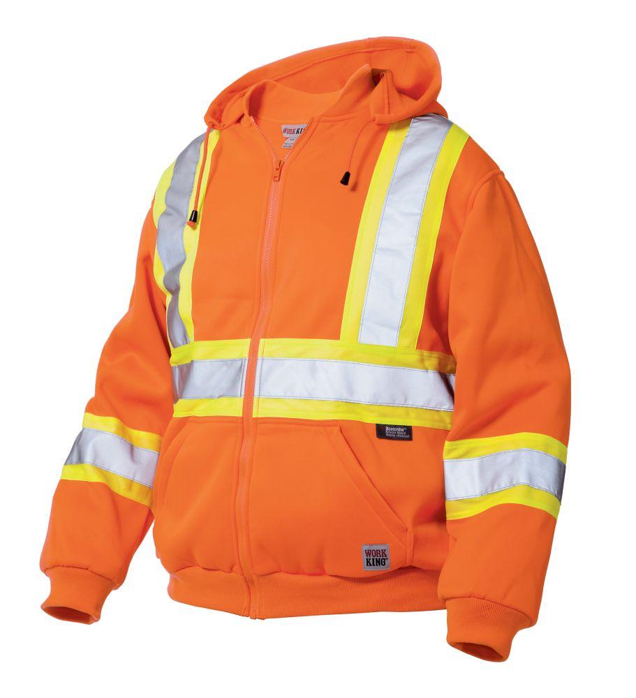 Hi-Vis Zip Front Hoodie With Safety Stripes Fluorescent Orange Medium