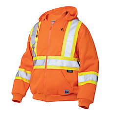 Hi-Vis Zip Front Hoodie With Safety Stripes Fluorescent Orange Medium