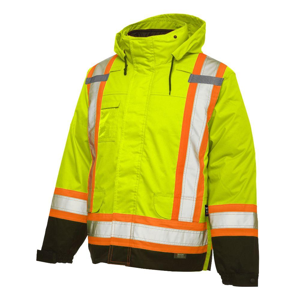 Manteau isolé 5dans1 haute visibilité avec bandes réfléchissantes�jaune/vert p