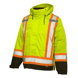 Work King Hi-Vis 5-In-1 System Jacket With Safety Stripes Yellow/Green Medium