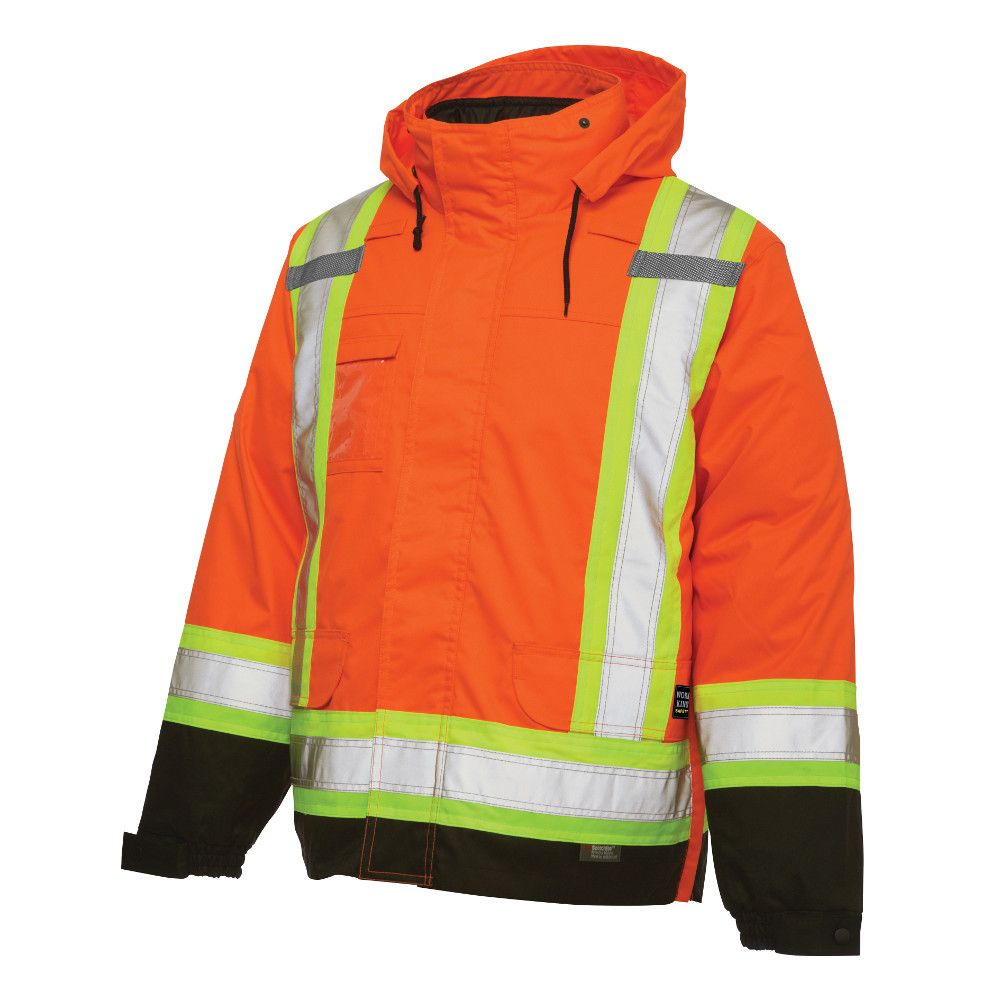 Hi-Vis 5-In-1 System Jacket With Safety Stripes Fluorescent Orange Small