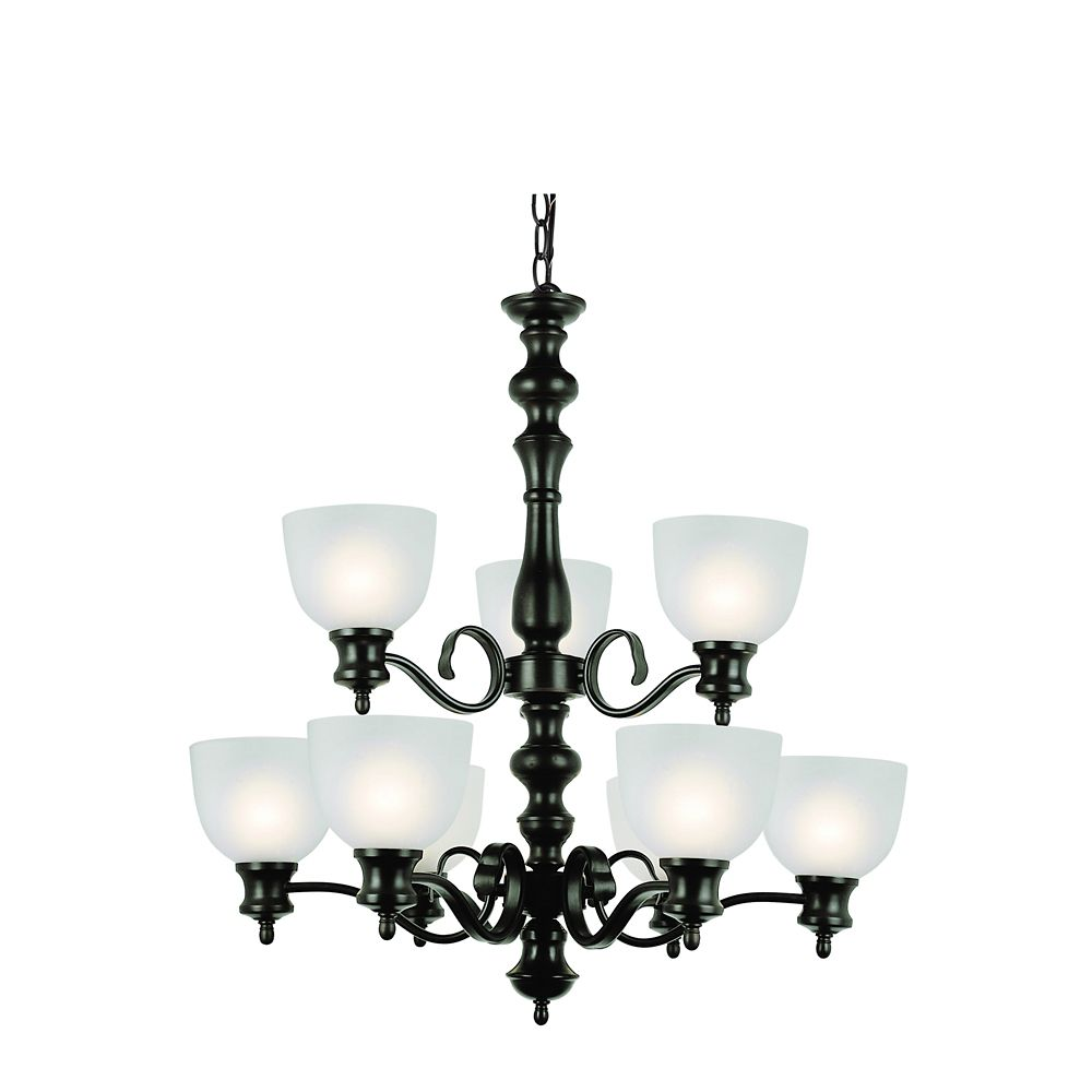 Bel Air Lighting Bronzed Candlestick and Frosted Glass 2 Tier Chandelier