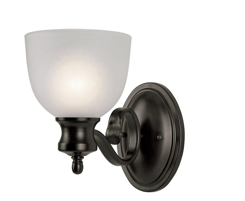 Bronzed Candlestick and Frosted Glass Sconce