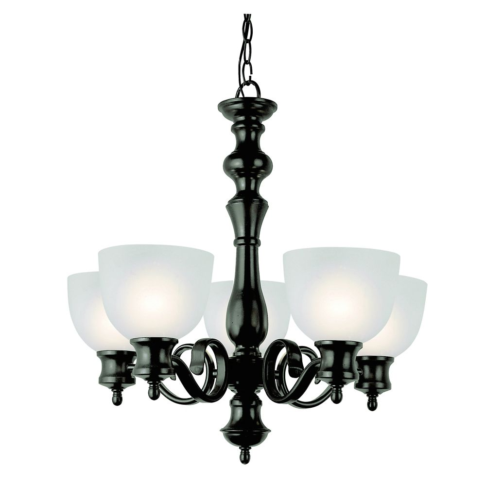 Bronzed Candlestick and Frosted Glass 5 Light Chandelier