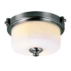 Bel Air Lighting 13-inch Frosted Cylinder Flushmount in Brushed Nickel