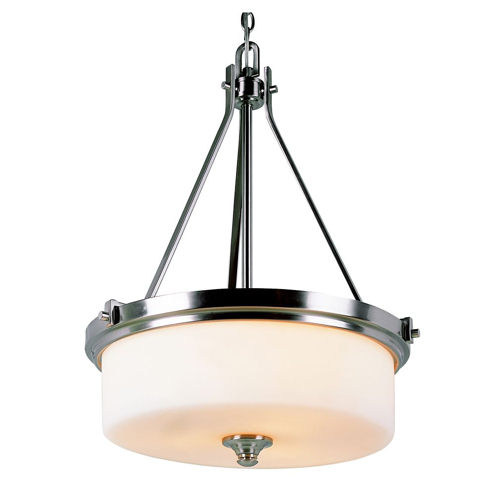 Nickel with Frosted Cylinder Hanging Pendant