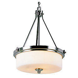 Bel Air Lighting Nickel with Frosted Cylinder Hanging Pendant