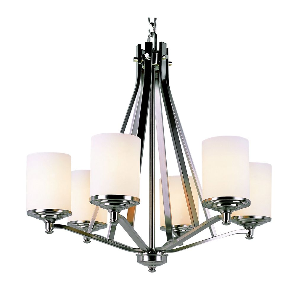 Nickel with Frosted Cylinder 6 Light Chandelier