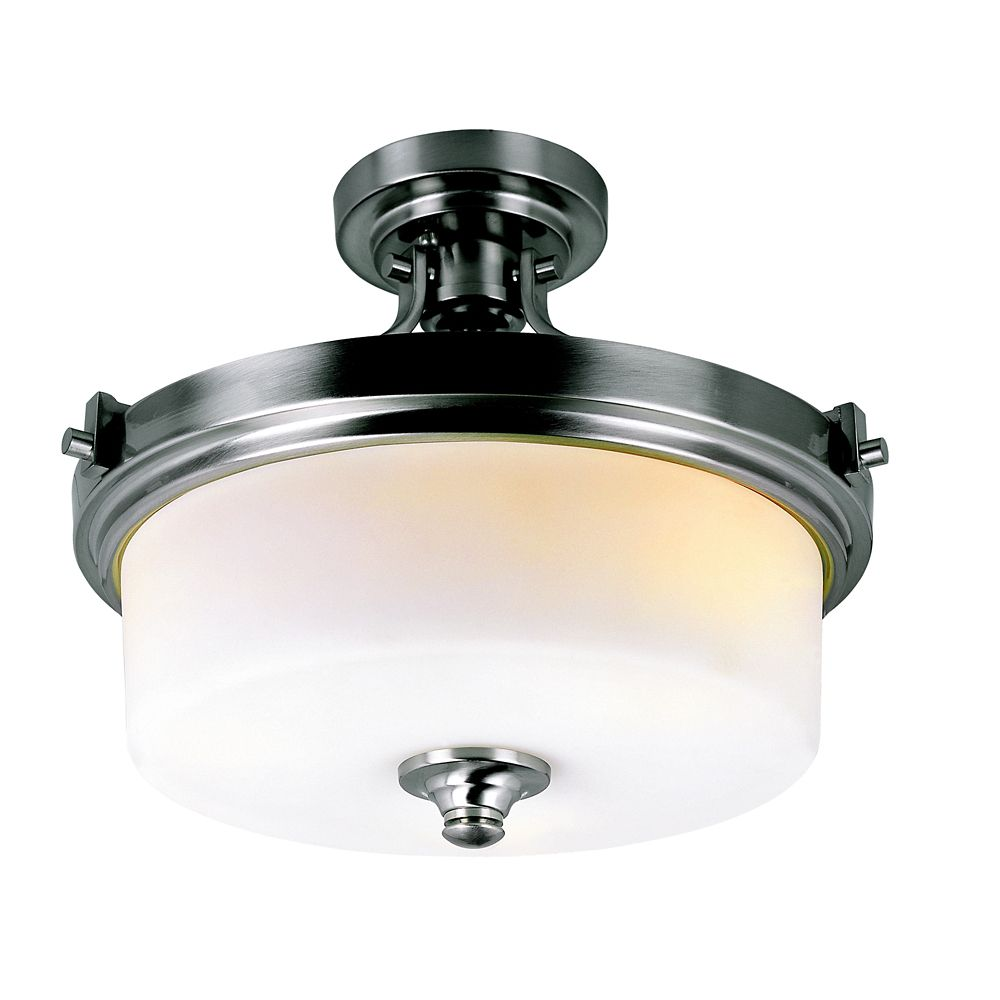 Nickel with Frosted Cylinder Semi Flushmount