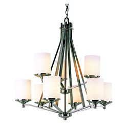 Bel Air Lighting Nickel with Frosted Cylinder 2 Tier Chandelier