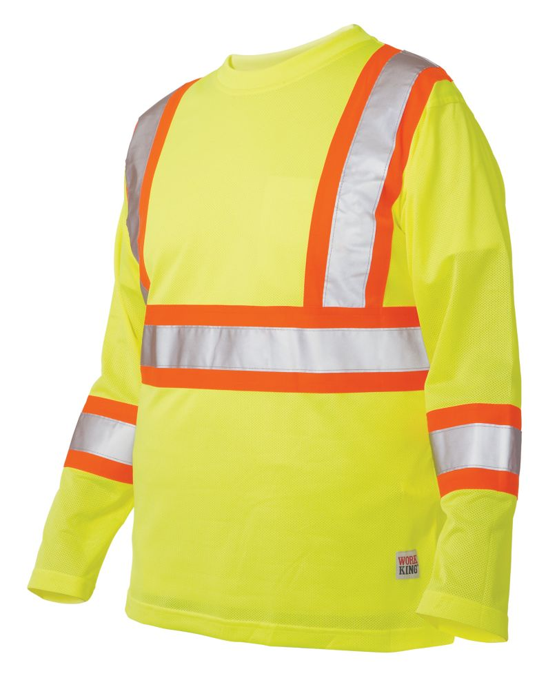 Long Sleeve Hi-Vis T-Shirt With Armband Stripes Yellow/Green Small
