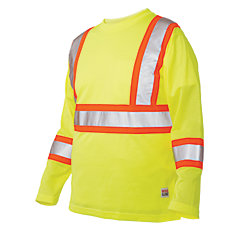 Long Sleeve Hi-Vis T-Shirt With Armband Stripes Yellow/Green 2X Large